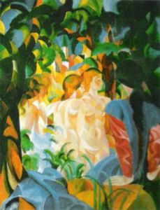 Women Bathing, with a Town Behind Them by August Macke