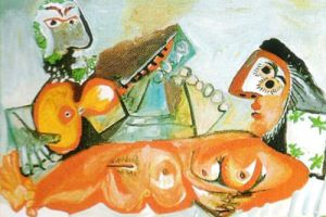 Laying Nude and Musician by Pablo Picasso