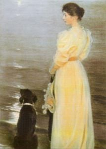 Summer Evening at Skagen, the Artist's Wife by Peder Severin Kröyer