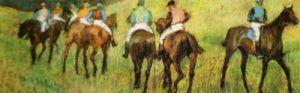 Racehorses in a landscape (detail) by Edgar Degas