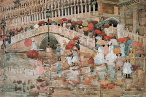 Umbrellas in the Rain, Venice by Maurice Prendergast