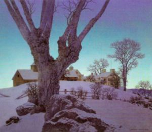 Hill Top Farm, Winter by Maxfield Parrish