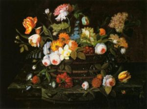 Still Life - Flowers in a Basket by Severin Roesen