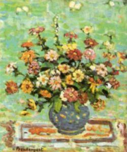 Flowers in a Blue Vase by Maurice Prendergast