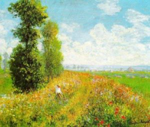 Meadow with Poplars by Claude Monet