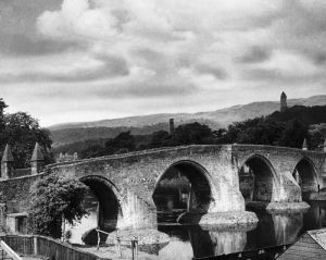 Old Stirling Bridge, River Forth, Walace Monument by Mirrorpix