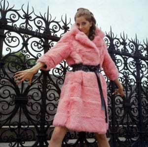 Amanda Dennys models a Pink Rabbit fur coat by Mirrorpix