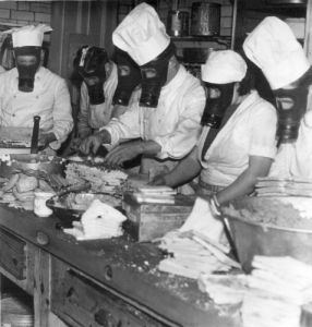 Royal Station Hotel, preparing meals while a gas mask exercise by Mirrorpix