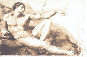 Creation of Adam (embossed) by Michelangelo