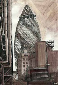 London Bridges & the Gherkin - The Gherkin by Mark Raggett