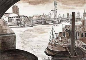London Bridges - Under Waterloo Bridge by Mark Raggett