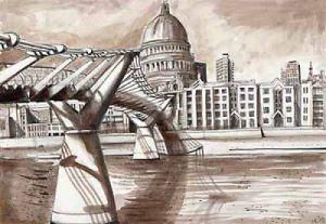 London Bridges - Millennium Bridge to St. Pauls by Mark Raggett