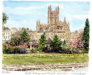 Bath Abbey and Parade Gardens by Glyn Martin