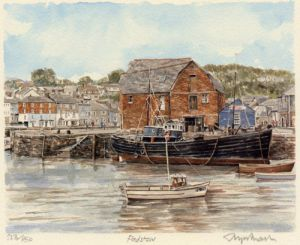 Padstow (black boat) by Glyn Martin