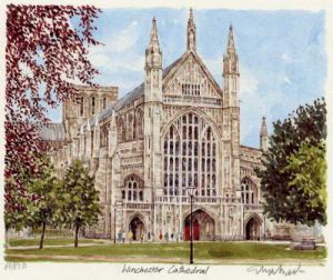 Winchester Cathedral - W.Front by Glyn Martin