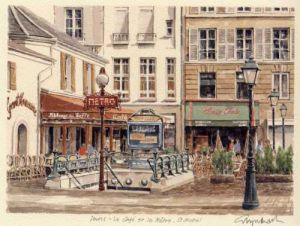 Paris - le cafe, metro St. Mich by Glyn Martin