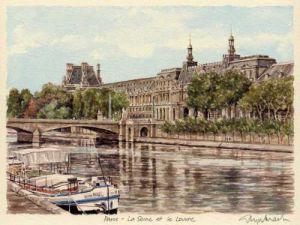 Paris - la Seine et le Louvre by Glyn Martin