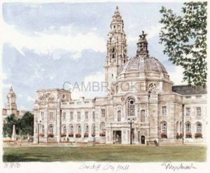 Cardiff City Hall - landscape view by Glyn Martin