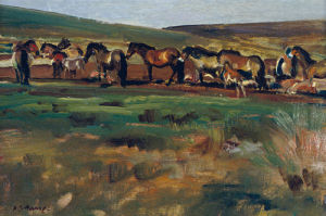 Exmoor Ponies by Sir Alfred Munnings