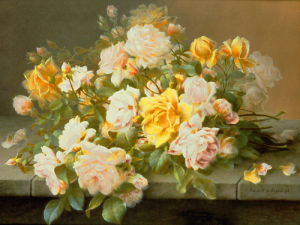Pink and Yellow Roses by Raul de Longpre