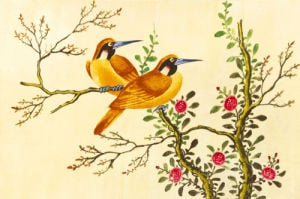 Yellow Birds on Branch by Anonymous