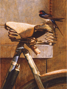 Swallow on Bicycle by Peter Munro