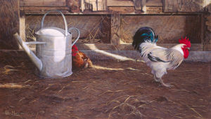 Rooster and Watering Can by Peter Munro