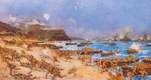 The Landing at Anzac 25th April 1915 by Charles Edward Dixon