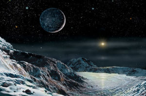 Pluto And Charon by David Hardy