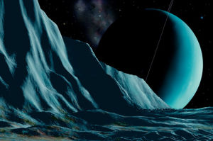Ice Cliffs Of Miranda by David Hardy