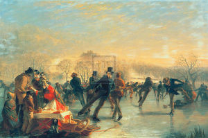 Skaters On Duddingston Loch, Edinburg by Charles Lees