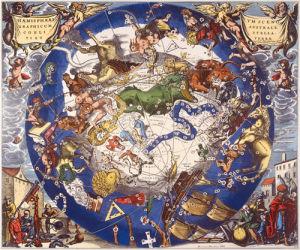 Hemisphae Alis Coeli Sphaeri Grarii Bore et Terre Casceno Phia 1660 by Henricus Hondius