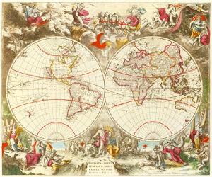 Novissima Totius Terrarum Orbis Tabula c1710 by Jacob de la Feuille