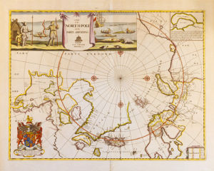 A Map of the North Pole and the Parts Adjoining 1680 by Moses Pitt