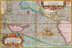 Maris Pacifici 1590 by Abraham Ortelius