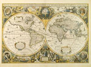 Nova Totius Terrarum Orbis Geographica ac Hydrographica Tabula c1641 by Henricus Hondius