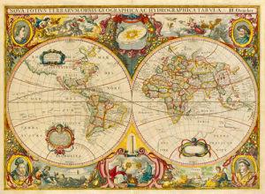 Nova Totius Terrarum Orbis Geographica ac Hydrographica Tabula c1690 by Hendrick Doncker