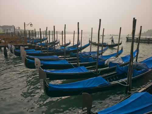 Gondolas in Venice by Assaf Frank