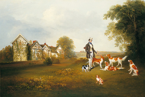 A Gentleman with his Dogs by Anonymous