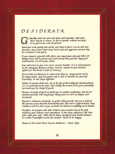 Desiderata by Max Ehrmann