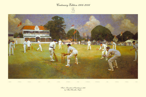 Kent vs Lancashire at Canterbury, 1906 by Albert Chevallier Tayler