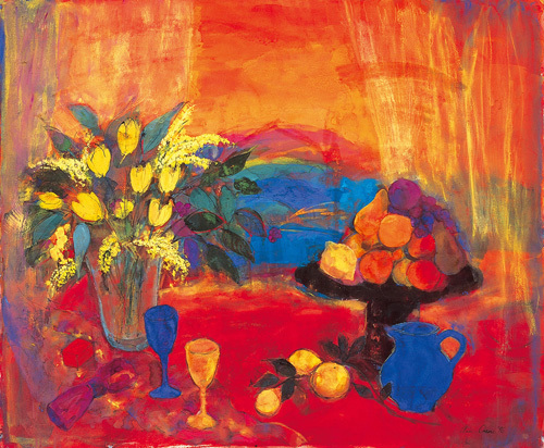 Red Still Life against the Hills by Ann Oram