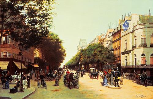 Le Boulevard Des Italiens, Paris, 1889 by Edmond Georges Grandjean