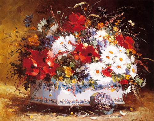 Still Life of Spring Flowers by Eugene Henri Cauchois