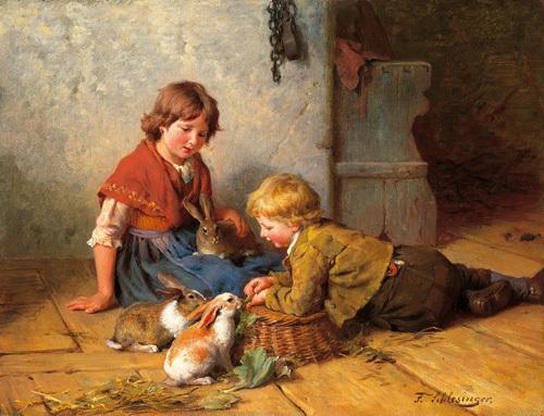 Feeding the Rabbits by Felix Schlesinger