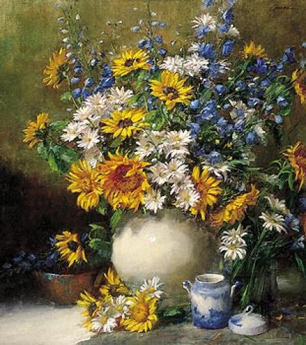 Sunflowers and Daisies by Frank Janca