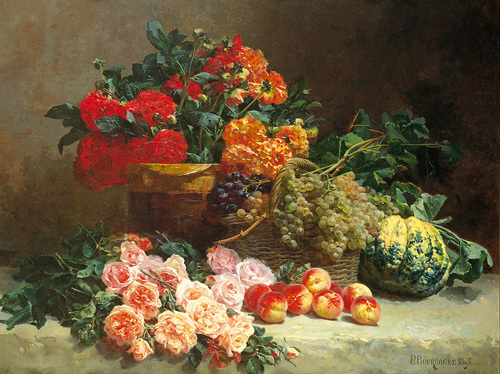 Still Life with Fruits and Flowers by Pierre Bourgogne