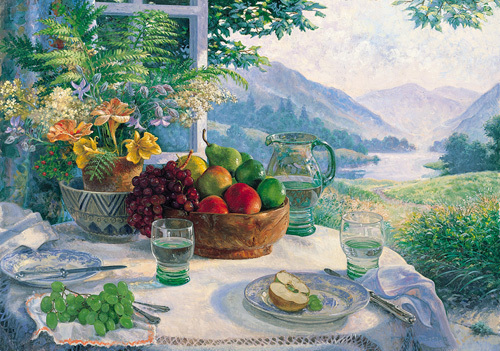 Fruit in an Olive Wood Bowl by Stephen Darbishire