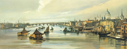 Blackfriars from Southwark Bridge by Thomas Shotter Boys