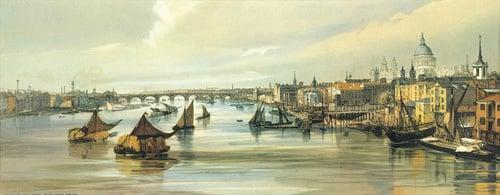 Blackfriars from Southwark Bridge by Thomas Shotter Boys